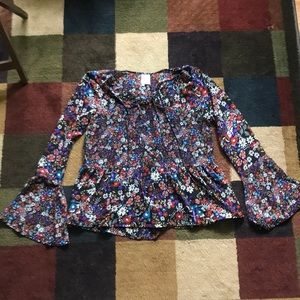 Flowery hippie style blouse